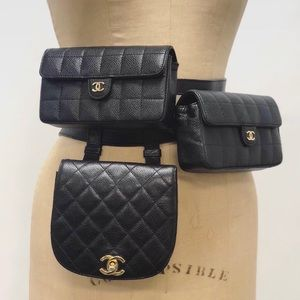 Authentic Chanel vintage black belt bag